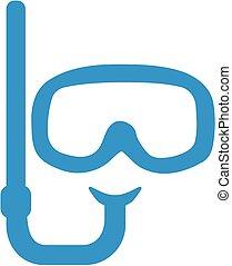 snorkeling, 潛水面具, 由于, 水下通气管