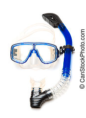 An isolated shot of a snorkeling equipment