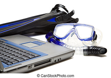 Snorkeling and laptop