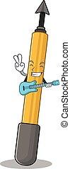 Snorkeling arrow musician cartoon design playing a guitar