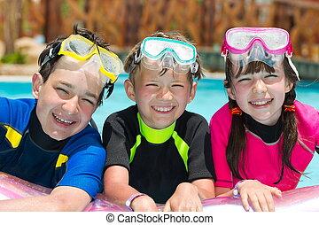 snorkeling, bambini, stagno