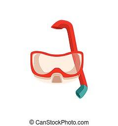 snorkeling, buceando, máscara, y, tubo que respira