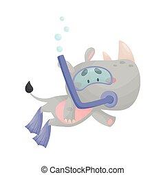 snorkeling, caricatura, llevando, ilustración, vector, salto subacuático, traje, rinoceronte