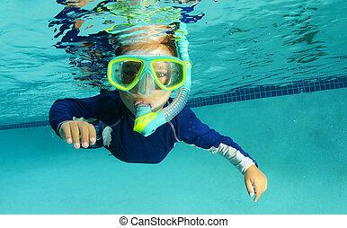snorkeling child