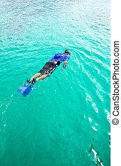 snorkeling, człowiek