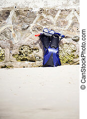 Snorkeling equipment on beach