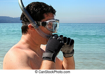 snorkeling, homme
