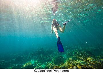 Snorkeling in coral reef