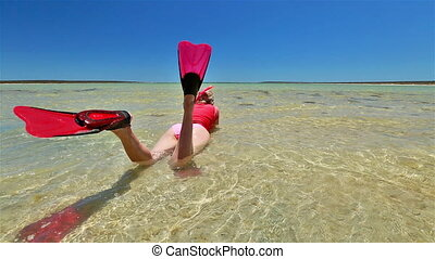 Snorkeling in Shark Bay - back side view of happy lifestyle...