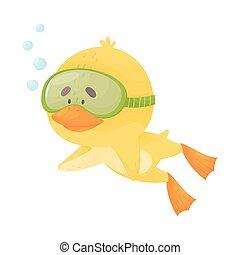 snorkeling, llevando, ilustración, pollo, vector, salto subacuático, traje