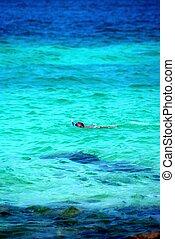 snorkeling, młody, morze, człowiek