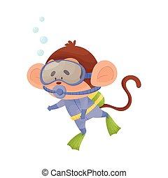 snorkeling, mono, llevando, ilustración, vector, salto subacuático, traje