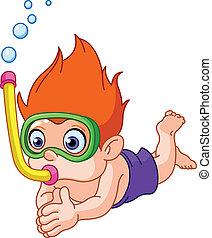 snorkeling, niño