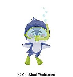 snorkeling, pingüino, llevando, ilustración, vector, salto subacuático, traje, lindo