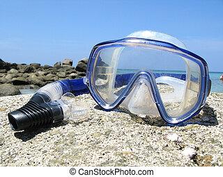 Snorkeling set on Karon beach of Phuket island, Thailand
