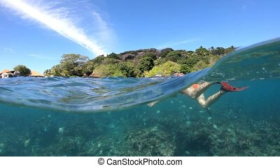 Snorkeling Seychelles split view - Scenic sunbeams of coral...