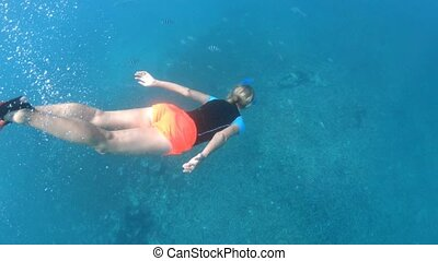 Snorkeling Seychelles split view - Third person view of girl...