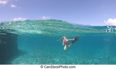 Snorkeling woman split view - Third person view of woman...