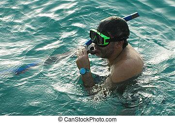 Snorkling2 - Man snorkling in mediterranean sea