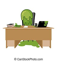 Booger boss. snot director sitting at table. Nasty green slime in workplace. Snivel behind job desk. Laptop and phone. Cup of coffee and documents