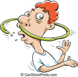 A cartoon man spins and makes a ring of snot around his head.