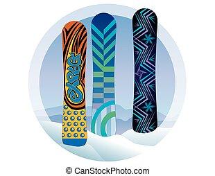 snovboards, w, śnieg, z, góry, w, przedimek określony przed rzeczownikami, tło
