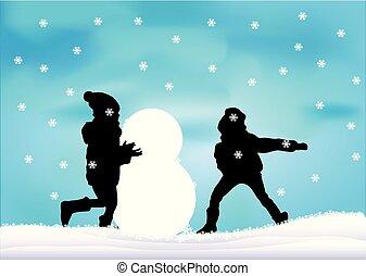 snow., ילדים משחקים