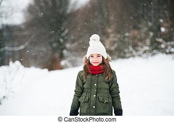 snow., 小さい, 女の子, 肖像画