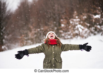 snow., 楽しみ, 小さい, 女の子, 持つこと