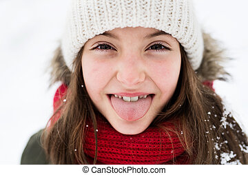 snow., amusement, petit, girl, avoir