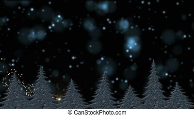 Snow and frost covered Christmas trees in the holly night, magical lights, star falling