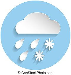 Snow and rain cloud icon, paper style