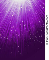 Snow and stars are falling on purple rays. EPS 8