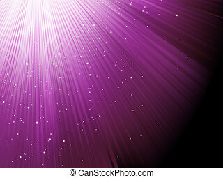 Snow and stars falling on purple rays. EPS 8
