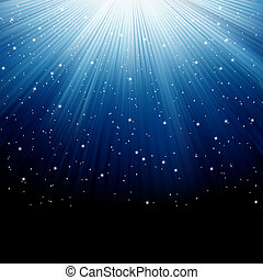 Snow and stars on blue luminous rays. EPS 8 - Snow and stars...