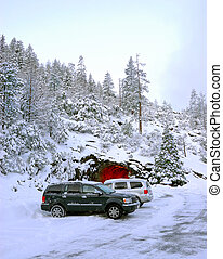 Snow at Yosemite National Park in California, USA
