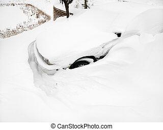 snow., automobile, sepolto