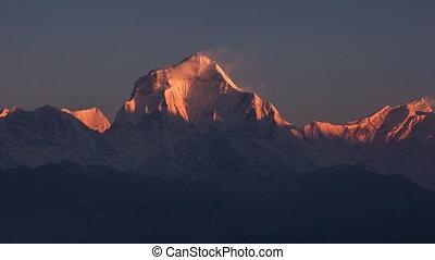 Snow Avalanche Peak Time Lapse