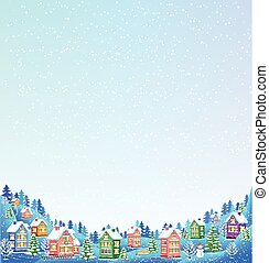 Snow background for text with winter landscape