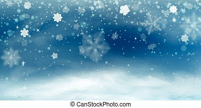 Snow background. Winter christmas landscape, blizzard, blurred snowflakes