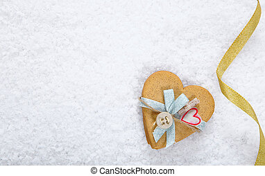 Snow background with heart