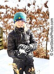 snow-ball, 微笑の女の子