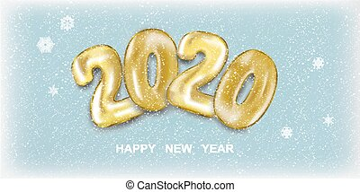 Snow banner 2020 Happy New Year