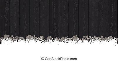 Snow Banner Dark Wood - Snowflakes on the dark wooden...