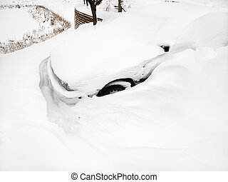 snow., bil, begravt