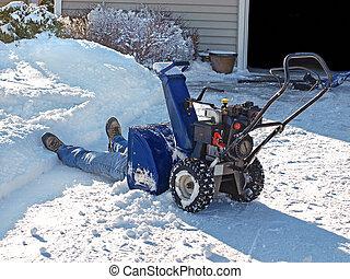 Snow Blower - Man in snow blower.