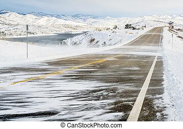 snow blowing wind in Colorado
