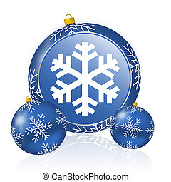 Snow blue christmas balls icon