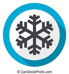 Snow blue flat design web icon