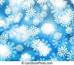 Snow Blue Winter Bokeh Background